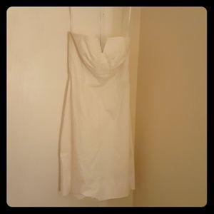 WH/BM strapless white mini dress. Trés chic.